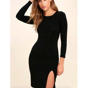 Lulu's How I Wonder Black Long Sleeve Midi Dress S